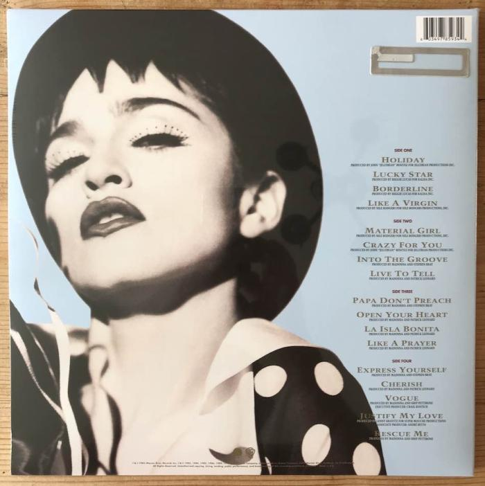 Madonna Immaculate Collection EU 2018 Reissue Vinyl LP back cover