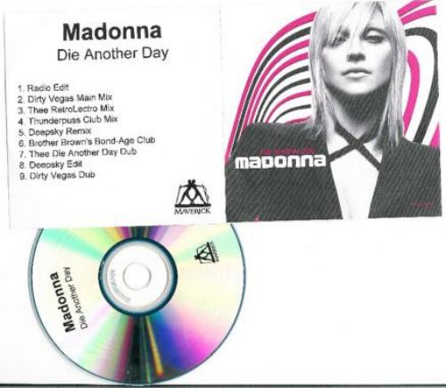 Picture of: DIE ANOTHER DAY UK/EURO 9 MIX PROMO CDR WITH CUSTOM P/S GATEFOLD INSERT at buySellMadonna.co.uk