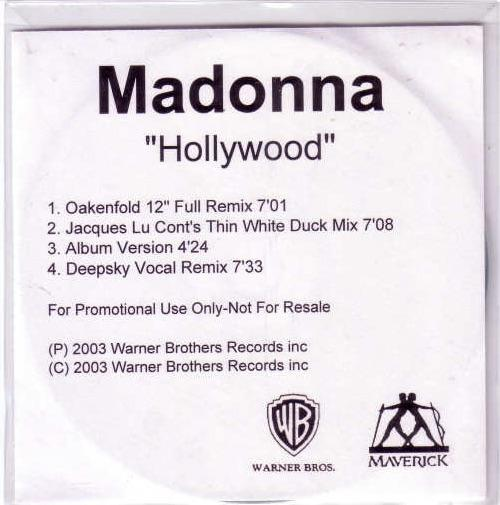 Picture of: HOLLYWOOD UK/EURO 4 MIX PROMO CD-R WITH 4 MIXES TITLED INSERT at buySellMadonna.co.uk