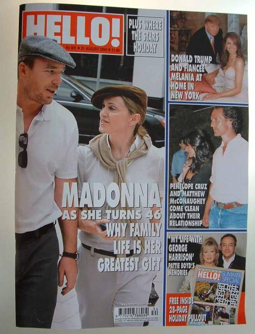Picture of: HELLO! UK MADONNA (AND GUY RITCHIE) COVER MAGAZINE (AUGUST 2004) MINT! at buySellMadonna.co.uk